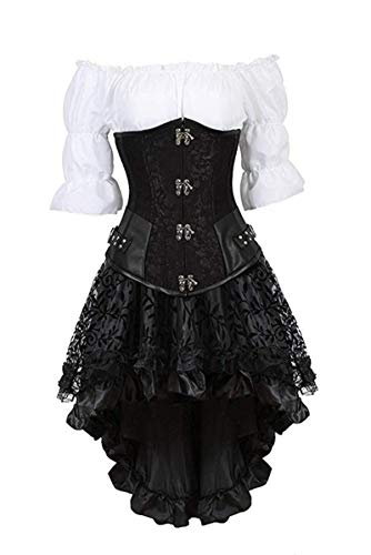 Steampunk Corset Dress for Women Off Shoulder Blouse Corset Top with Gothic Skirt 3 Piece Outfits -