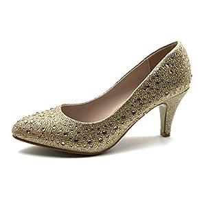 Angkorly – Chaussure Mode Escarpin Petits Talons soirée Mariage cérémonie Femme Strass Diamant Perle Talon Haut Aiguille…