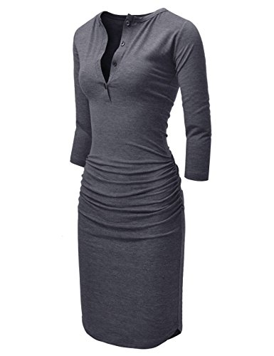 NEARKIN (NKNKWMD721 Womens Figure Hugging Shirred 3/4 Sleeve Henley Midi Dress Darkgray US S(Tag Size M) from NEARKIN