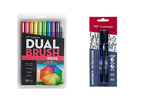 Tombow-10-Pack-Dual-Brush-Pen-Art-Markers-Bright-Tombow-2-Pens-Set-Fudenosuke-Brush-Pen