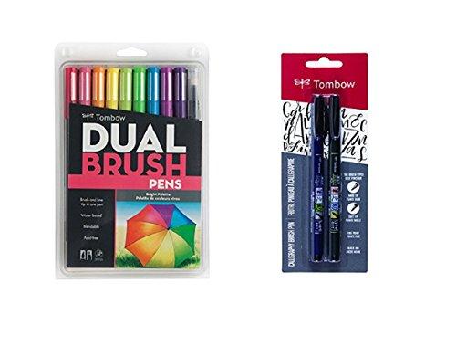 Tombow-10-Pack-Dual-Brush-Pen-Art-Markers-Bright-Tombow-2-Pens-Set-Fudenosuke-Brush-Pen
