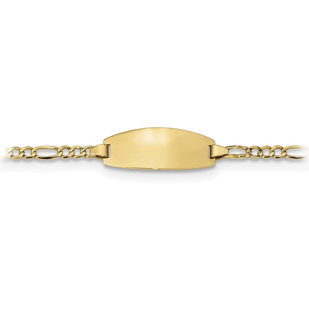 Brilliant Bijou 14k Yellow Gold 6 Inches Semi Solid Figaro Personalized ID Bracelet with Lobster Clasp by Brilliant Bijou