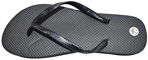 Octave , Damen Zehentrenner Solid Plain Design - Black