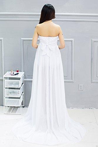 Happy Cherry Maxi Vestido de Maternidad Elegante de Gasa Apoyo Fotográfico para Mujeres Embarazadas Tube Maternity Photography Dress - Blanco