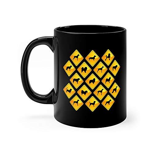- Yellow Road Signs Dogs German Shepherd Dog Funny Cute Mug Ceramic Cup 11 Oz