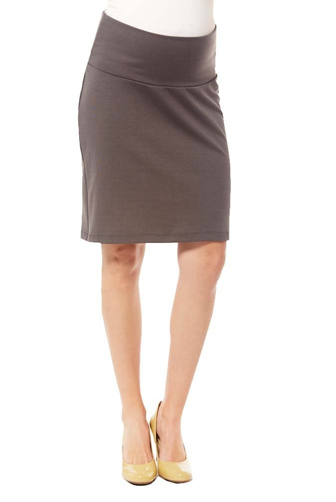 Japanese Weekend Ponte Maternity Career Skirt - Charcoal - X-Small