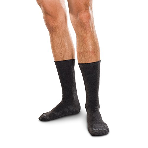 SmartKnit Seamless Diabetic Crew Socks w/ X-Static Silver Fibers Size: Medium Black - 71732