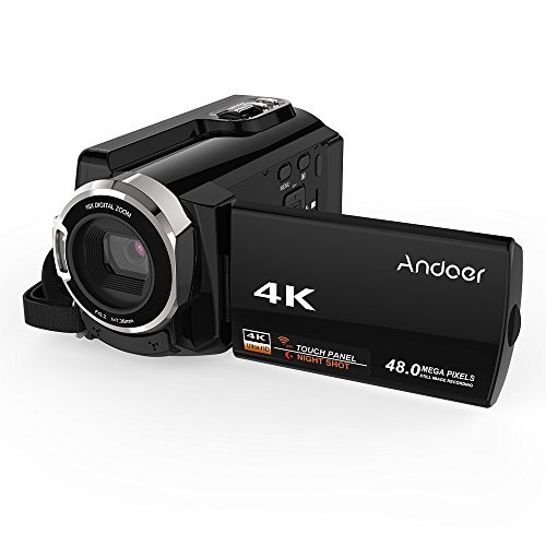 4K Video Camcorder, Andoer Camcorder 48MP Digital Video Camera 2880 x 2160 HD 3inch Touchscreen Handy Camera with IR Night Sight Support 16X Zoom 128GB Max Storage Valentine's Gift Present