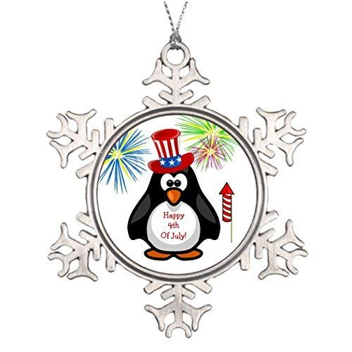 Rocket Fireworks (EvelynDavid Snowflake Ornament Tree Branch Decoration Happy TH of July Cute Penguin Fireworks Rocket Pictures of Christmas Snowflake Ornaments Anarctica)