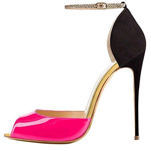 Toe Pompe Sandali Femminile Open Cinturino Caviglia Aiweiyi Tacchi Alla Pinkblack Stiletto Vestito Alti wF0nOTAqg