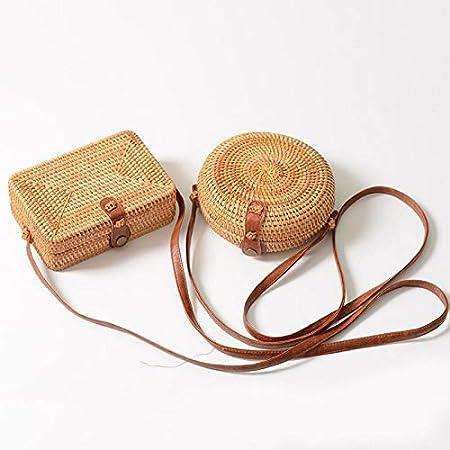 2 Rattan Schultertaschen Runden Wicker Gewebte Handtasche Schulter Tasche Stroh Geldb/örse f/ür Strand Handy tragen
