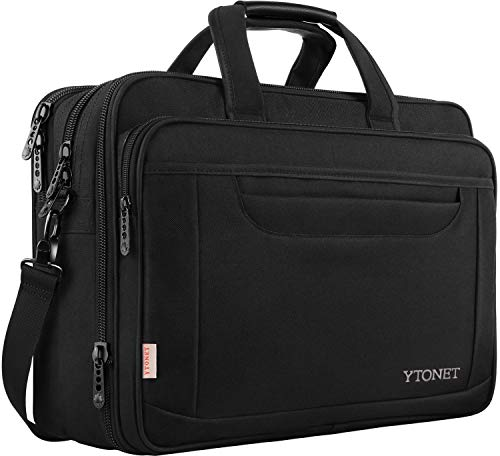 Laptop Bag, 17 Inch Expandable Briefcase for Men Women, Water Resistant Business Laptop Case, Durable Multifunctional Messenger Shoulder Bag Fit 17.3 17 Inch Notebook for Travel Office Work, Black ()