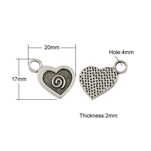 Paquet 10 x Argent Antique Tibétain 20mm Breloques Pendentif (Coeur) - (ZX15330) - Charming Beads