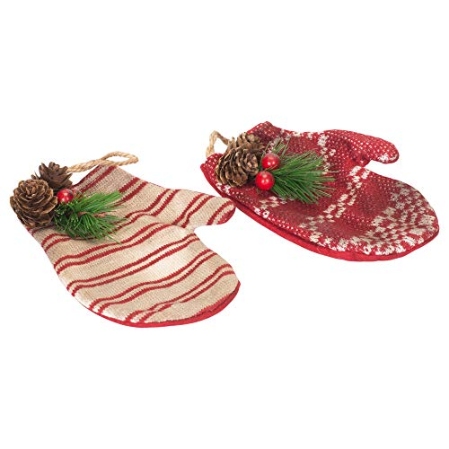 Your Heart's Delight Vintage Mittens Red and White 6 inch Fabric Christmas Hanging Ornaments Set of 2