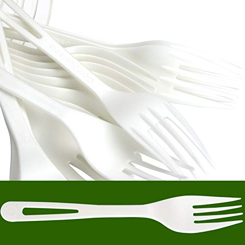 Biodegradable Forks Made From Non-GMO Plant-Based Plastic 100 Pack. Sturdy Utensils are Certified Compostable, Disposable, Eco-Friendly Cutlery With No Wood Taste. Safe for Hot and Cold Foods! ()