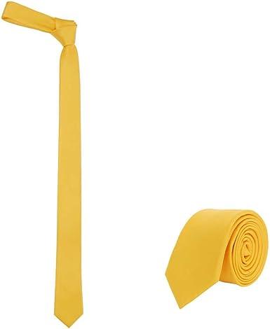 Corbata Jnjstella para hombre, color liso, delgada, 5 cm - Amarillo - talla única: Amazon.es: Ropa y accesorios