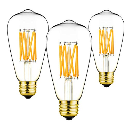 GEZEE ST64,3-Pack,Warm White 2700K,Vintage Edison Style,LED Filament Light Bulb,E26 Medium Base Lamp,10W,1000LM,100W Incandescent Replacement,for Decorate Home,Reading Room,Office.