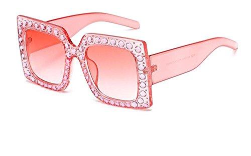 Quinny's Crystal Rhinestone Bling Luxury Brand Designer Oversized Square Frame Sunglasses For Women 2018 (Pink, Pink - Crystal Oversized
