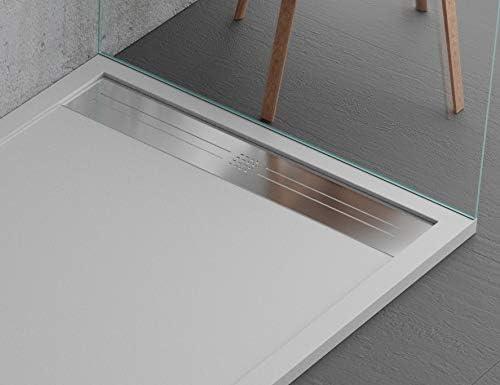 Plato de ducha gris claro, diseño moderno, modelo Malaga, de ...