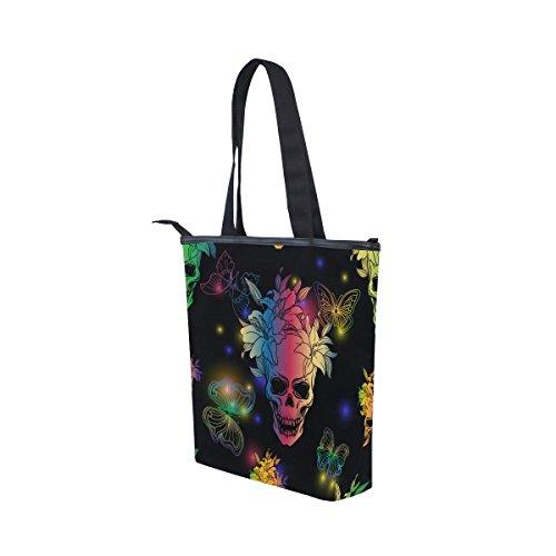 Lona Mydaily De Colorido Del Bolso Hombro De Mujeres Cráneo Mariposa Y Bolsas De Las qr01rE