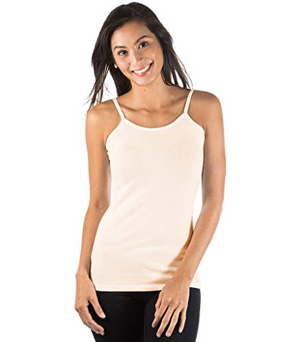 zhAjh Womens Cotton Spandex Mercerized Layering Camisole (Ivory,Medium) ()