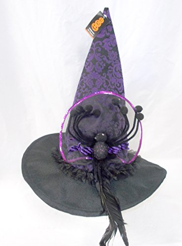 ShopKo Celebrate the Season Black Purple Velvet Halloween Spider Witch Hat Costume 16 1/2in NIP
