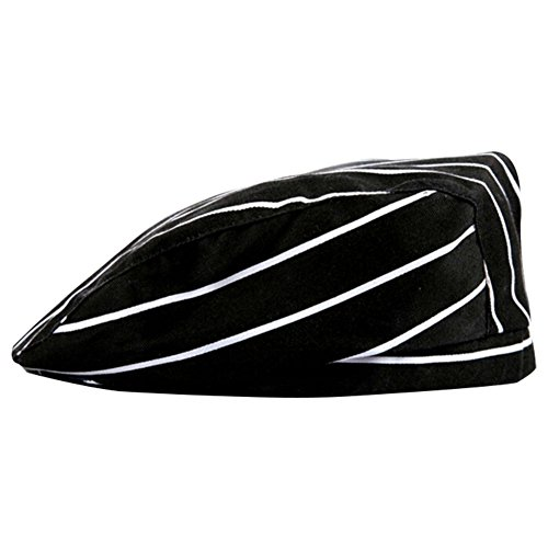 ACTLATI Professional Chef Hat Cotton Adults Cooking Peake Cap Cook's Caps Party Cosplay Kitchen Works Black and White Stripes by ACTLATI