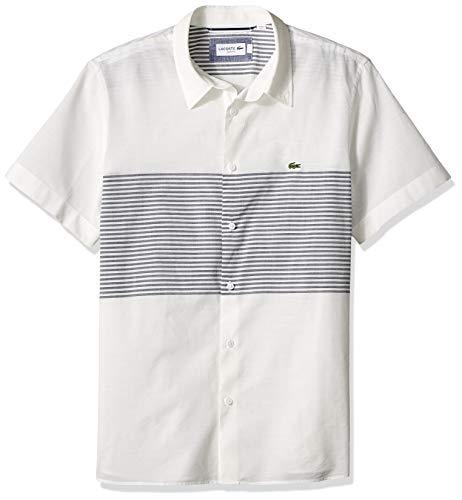 (Lacoste Men's S/S Stripes POPLIN Cotton/Linen Casual Collar Slim FIT Woven, Flour/Navy Blue, Small)