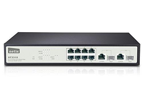 Netis 8FE+2 Combo-Port Gigabit Ethernet SNMP Switch, 5.6 Gbps Switching Fabric Capacity (ST3310) by Netis