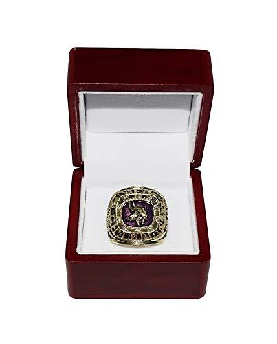 MINNESOTA VIKINGS (Coach Bud Grant) 1974 NFC CHAMPIONS (Super Bowl IX) Vintage Rare Collectible Replica National Football League Gold NFL Championship Ring with Cherrywood Display Box