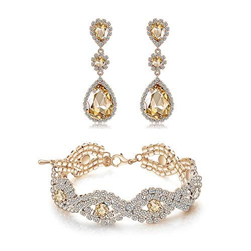 Tone Rhinestone Bracelet Gold - Paxuan Gold-Tone Bridal Wedding Bracelets Earrings Jewelry Set Crystal Rhinestone Earrings Bracelets Sets (Champagne - Bracelet and Earrings Set)