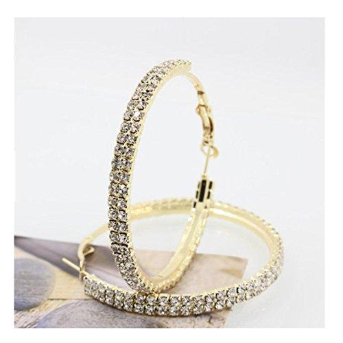 Hot Sale! Women Fashion Luxury Double Row Rhinestone Crystal Elegant Earring Ear Hoop Dangle Ear Clip (Gold, ()