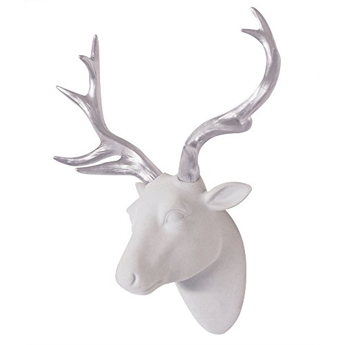 Deer Head Wall Art White Fake Furry/Felt/Velvety Deer Head With Silver Antlers Wall Decor Size 10