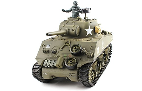 (Heng Long 2.4Ghz 1/16 Scale Radio Remote Control US M4A3 Sherman (105mm Howitzer) Tank Air Soft RC Battle Tank Smoke & Sound)