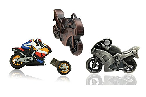 WooTeck 3 Pack 16GB Strong 3D Motorcycle USB Flash Drive Memory Stick Pendrive(Cartoon,Copper,Leaden)