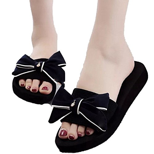 (Women Slippers Flat Shoes Slip On Slides Summer Beach Slippers Butterfly Knot Flip Flops Platform Sa Black)