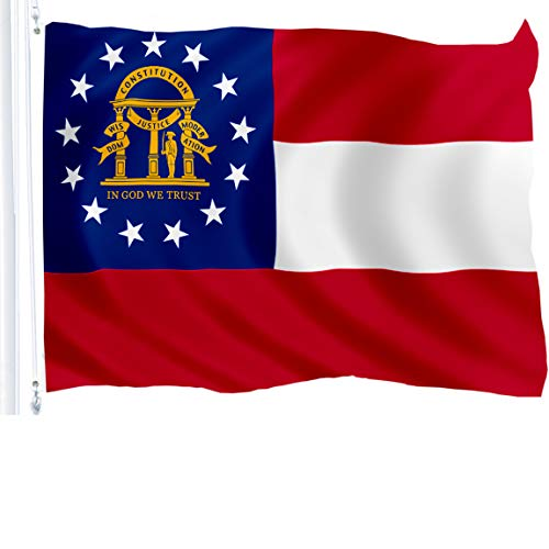 Georgia Flag State - G128 Georgia State Flag 150D Quality Polyester 3x5 ft Printed Brass Grommets Flag Indoor/Outdoor - Much Thicker More Durable Than 100D 75D Polyester
