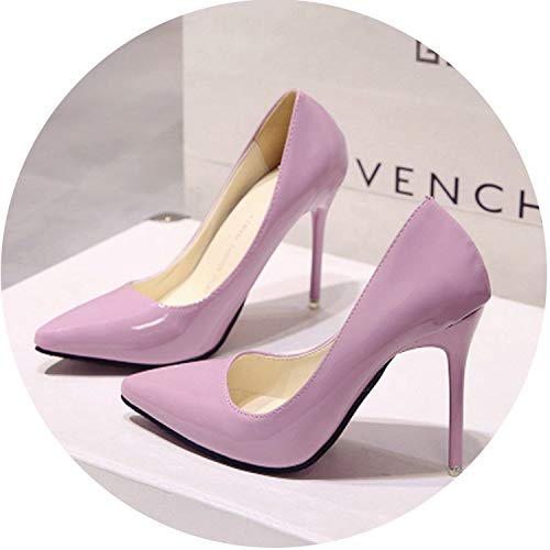 HANBINGPO Women Shoes Pointed Toe Pumps Patent Leather Dress High Heels Boat Shoes Wedding Shoes Zapatos Mujer Blue Wine red,Pink 10 cm,5 ()