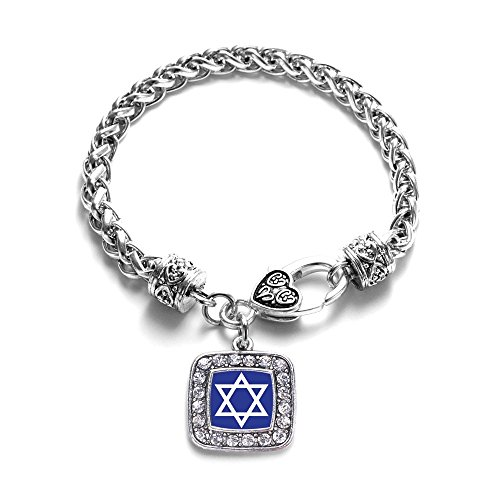 - Star of David Classic Silver Plated Square Crystal Charm Bracelet