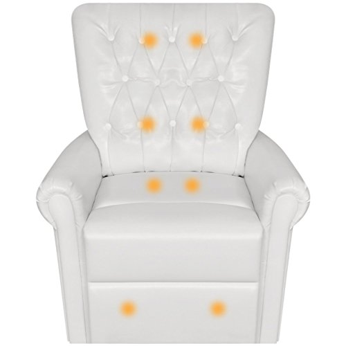 Anself Electric Heated Massage Chair Artificial Leather Recliner White