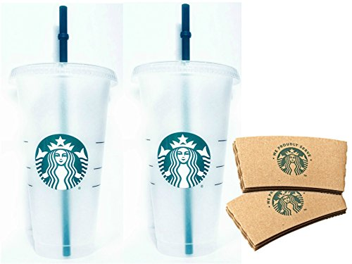 Starbucks Reusable Venti 24 fl oz Frosted Ice Cold Drink Cup Bundle Set of 2 with Sleeves by Starbucks