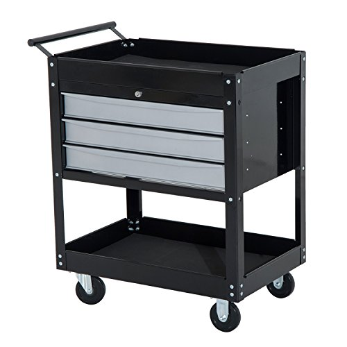 Utility Locking Tool Chest Cart Home Garages Mechanics Basement Storage Black With Ebook by MRT SUPPLY