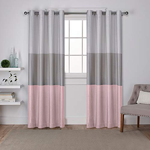 Exclusive Home Curtains Chateau Striped Faux Silk Window Curtain Panel Pair with Grommet Top, 54x96, Blush, 2 Piece]()