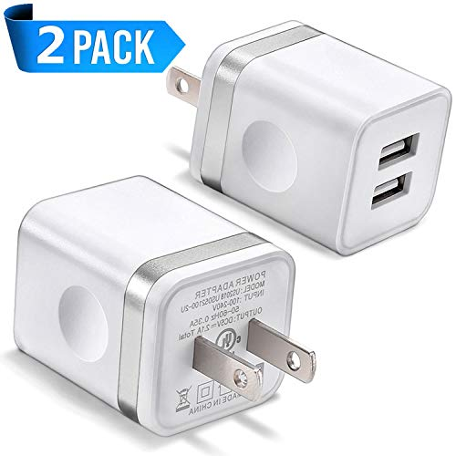 USB Wall Charger, BEST4ONE 2-Pack 2.1A/5V Dual Port USB Plug Power Adapter Charging Block Compatible with Phone XS/XR/X, 8/7/6 Plus, Samsung, Tablet, Moto, Google Pixel, Android Cell Phone - For Card 4s Iphone Reader