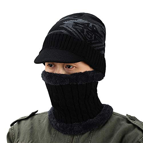(VBIGER 2-Pieces Winter Beanie Scarf Set Warm Hat Thick Knit Skull Cap for Men Women, One Size Black)