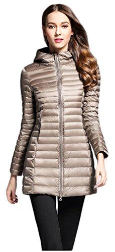 Elezay Women's Winter Light Weight Down Jacket Hooded Coat Khaki L