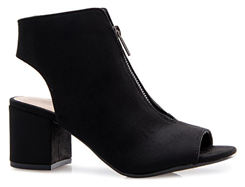 Adorable Black Peep Toe (OLIVIA K Women's Peep Open Toe Ankle Bootie - Sexy Front Zipper Closure Low Block Heel)