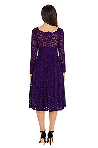 Purple Formal Swing Neck lace1 Cocktail Homecoming Long Elegant Sleeve Women's Adodress Boat 2 Dresses 1vO66z