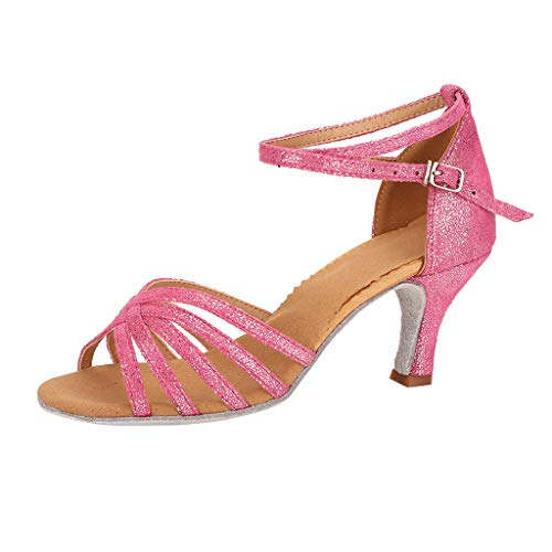 CCOOfhhc Women's Professional Latin Salsa Dance Shoes Satin Salsa Ballroom Wedding Dancing Shoes High Heel Sandals Hot Pink ()