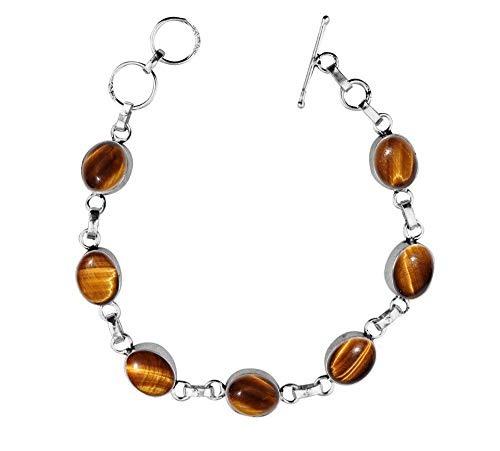 Genuine Oval Shape Tiger Eye Link Bracelet 925 Silver Overlay Handmade Vintage Bohemian Style Jewelry for Women Girls
